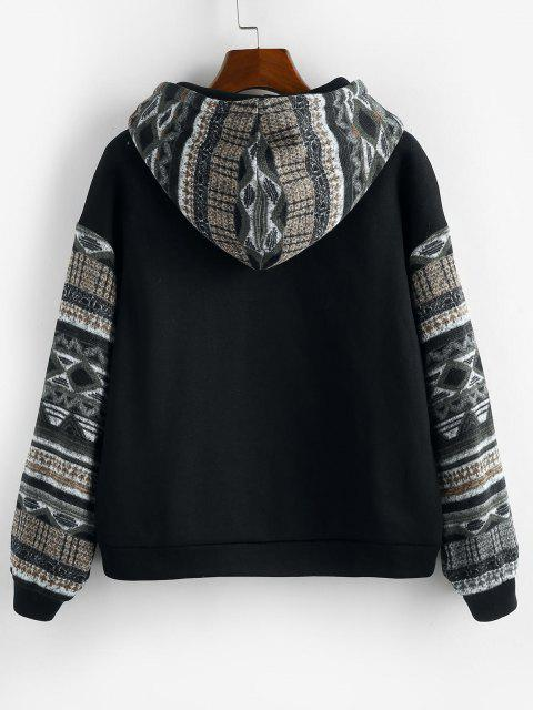 chic ZAFUL Ethnic Seamless Pattern Drop Shoulder Fleece Lined Hoodie - MULTI-E S Mobile