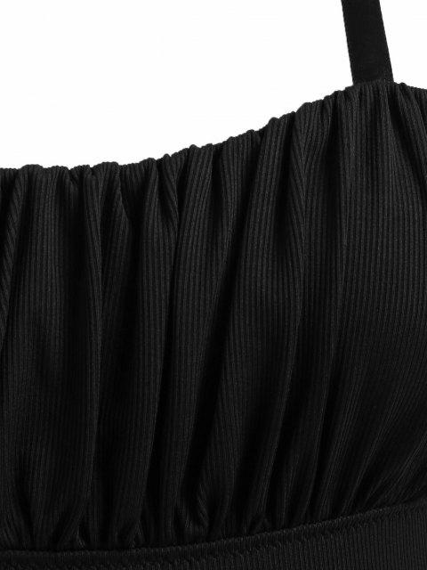 trendy ZAFUL Plus Size Halter Ribbed Ruched Cups Ribbons Tie One-piece Swimsuit - BLACK XXL Mobile