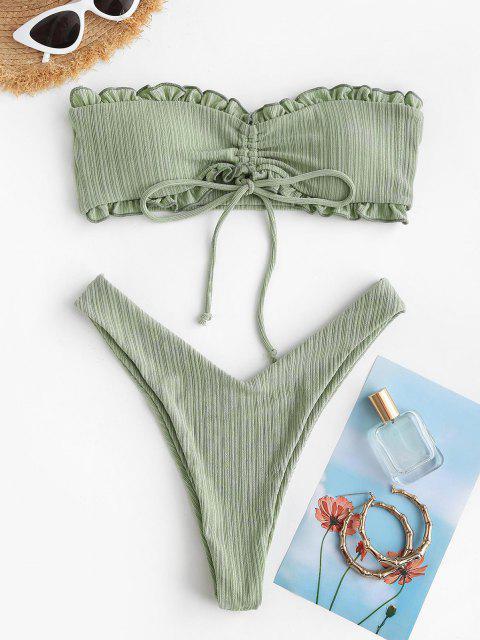 Bikini Bandeau Acolchado con Pliegues Acanalados ZAFUL - Verde claro M Mobile