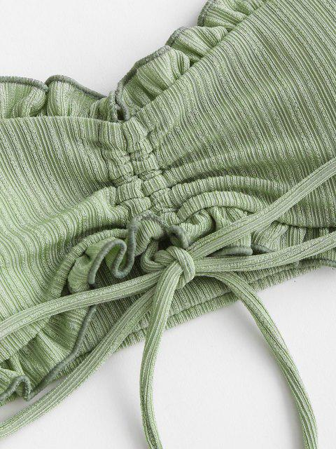 outfits ZAFUL Cinched Ribbed Padded Bandeau Bikini Set - LIGHT GREEN M Mobile