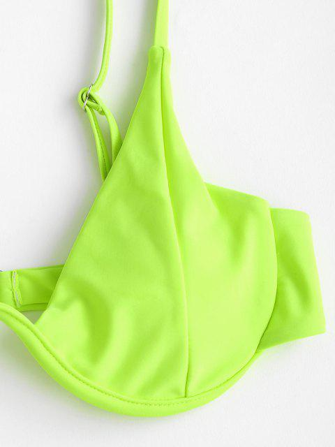 women ZAFUL Fishnet Panel Mono Wire Padded Neon Bikini Set - GREEN S Mobile