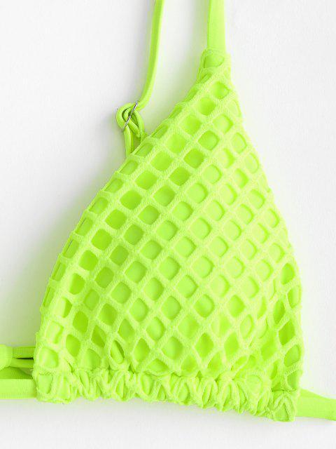 Bikini de Neón Acolchado con Panel de Red de ZAFUL - Verde M Mobile