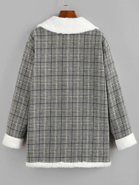 online ZAFUL Plaid Drop Shoulder Teddy Lined Pocket Coat - BLACK XL Mobile
