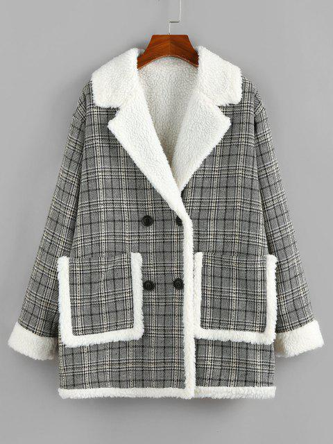 ZAFUL Plaid Drop Shoulder Teddy Lined Pocket Coat - أسود S Mobile