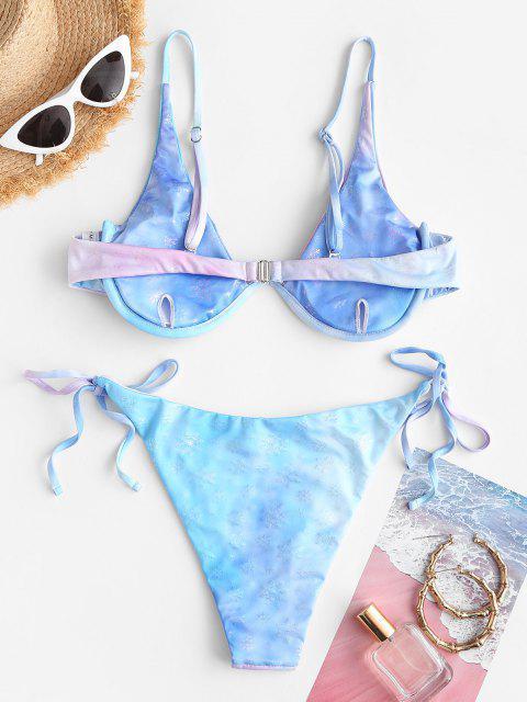 ZAFUL Christmas Snowflake Monowire Tie Dye Bikini Swimwear - أزرق S Mobile