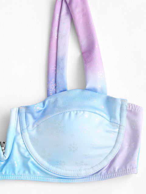 fancy ZAFUL Christmas Snowflake Tie Dye Print V Wired Bikini Set - BLUE S Mobile