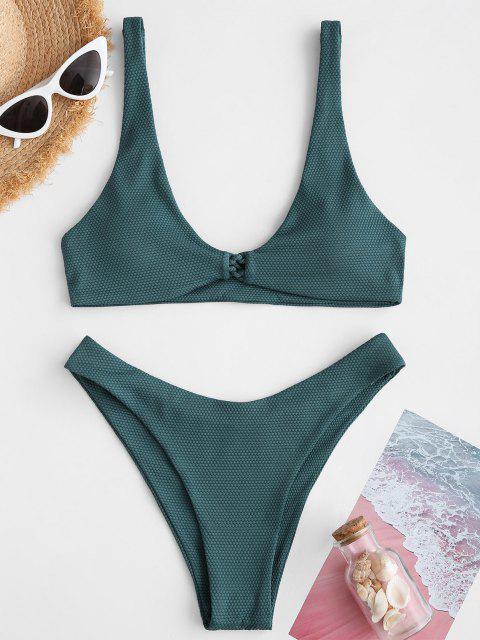 ZAFUL Lattice Detail Strukturierte Bikini Badebekleidung - Dunkelgrün M Mobile