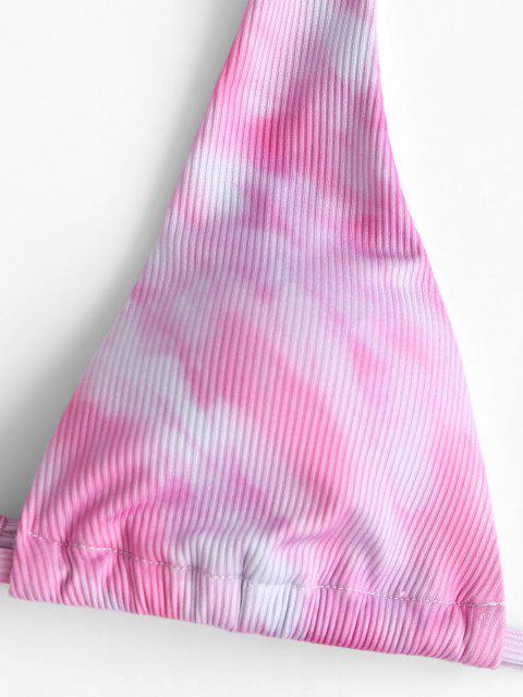 Costume da Bagno di Tie-Dye a Costine con Halter di ZAFUL - Rosa Chiaro L Mobile