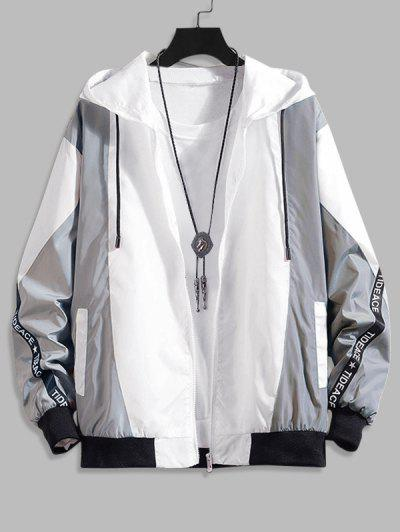 Hooded Letter Tape Contrast Jacket - Gray L