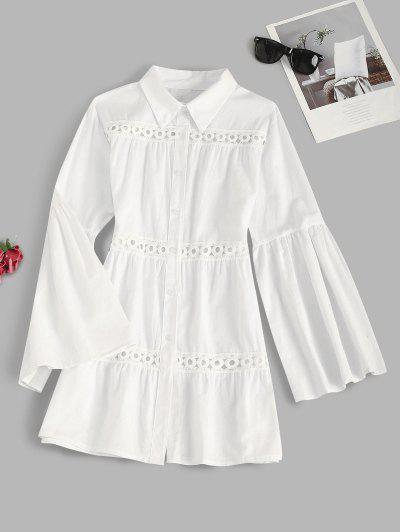 Bell Sleeve Crochet Lace Insert Shirt Dress - White S