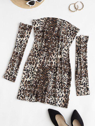 Separate Sleeve Leopard Slinky Dress - Coffee M