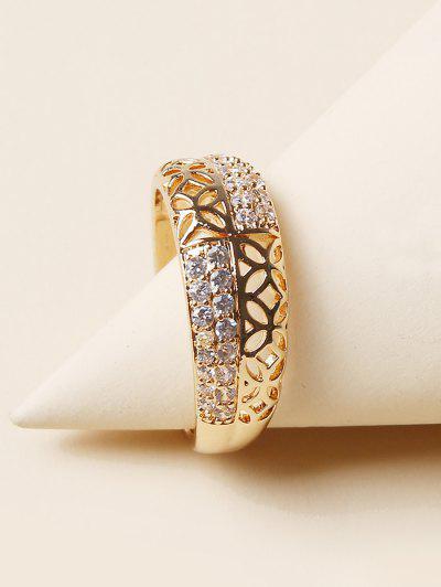 Hollow Rhinestone Finger Ring - Golden