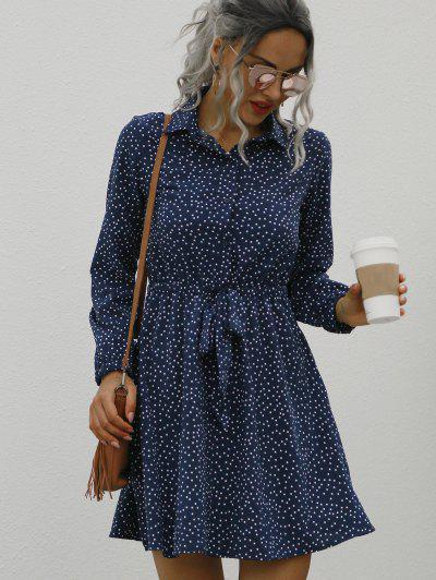 Dotted Button Front Tie Waist Long Sleeve Dress - Deep Blue S