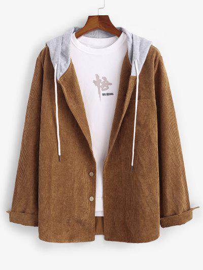 ZAFUL Corduroy Colorblock Hooded Shirt Jacket - Coffee M