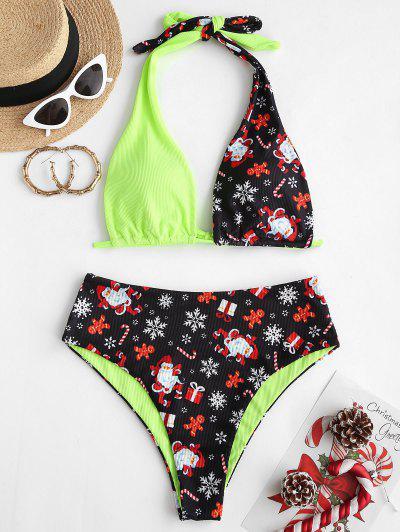 ZAFUL Christmas Santa Claus Snowflake Print Convertible Padded Bikini Set - Green L