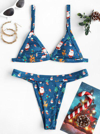 ZAFUL Christmas Santa Claus Snowman Elk Print Padded Bikini Set - Deep Blue S