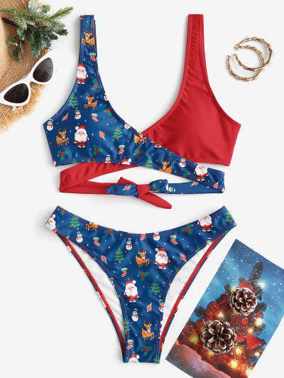 ZAFUL Christmas Santa Claus Snowman Elk Print Padded Wrap Bikini Set - Deep Blue L