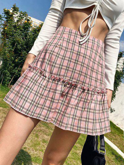 Lettuce Trim Plaid Mini Skirt - Light Pink M