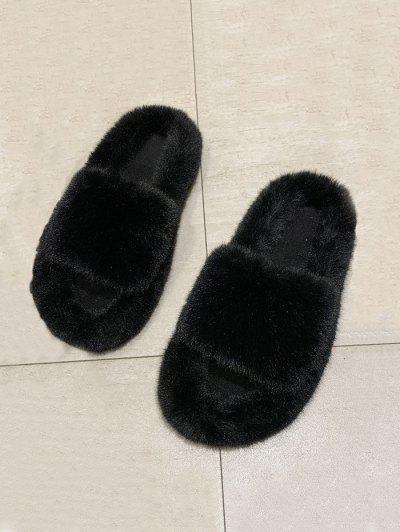 Faux Fur Solid Open Toe Slippers - Black Eu 41