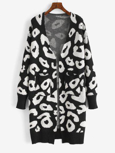 Leopard Drop Shoulder Open Front Cardigan - Black