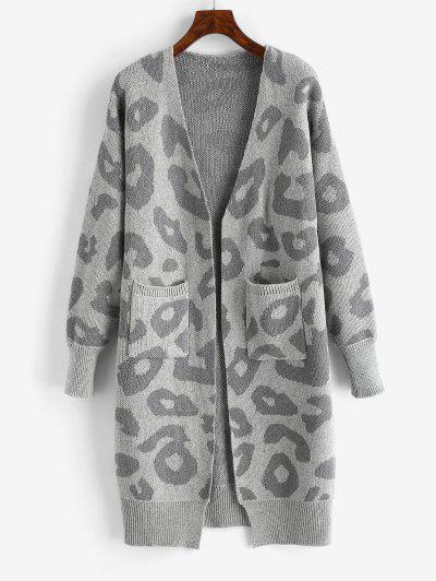 Cardigã De Ombro Aberto Frontal De Leopardo - Cinzento Escuro