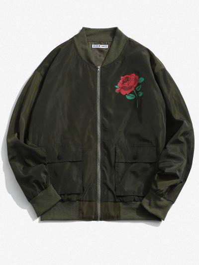 Rose Flower Pattern Flap Pocket Jacket - Army Green M