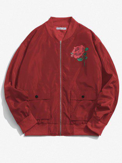 Rosen Blumenmuster Klappe Taschen Jacke - Tiefrot L