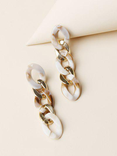 Colored Chain Drop Earrings - Golden