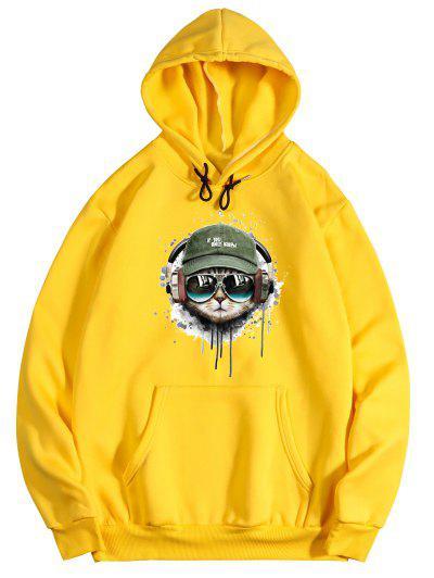 Listening Music Cat Paint Pattern Fleece Hoodie - Bright Yellow Xl