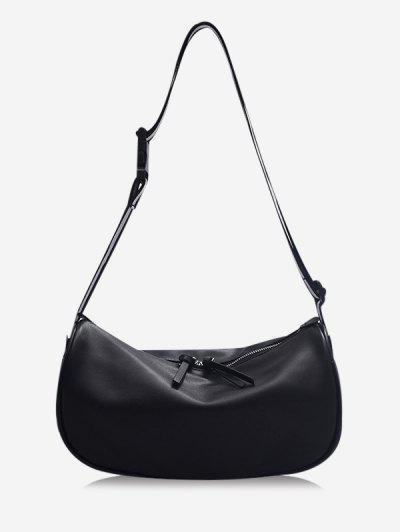 Striped Strap Shoulder Bag - Black