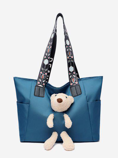 Plush Bear Floral Strap Tote Bag - Sky Blue