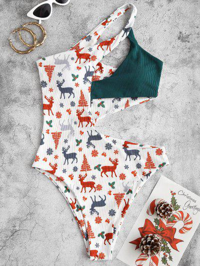 ZAFUL Christmas Tree Elk Snowflake Print Cut Out One-piece Swimwear - White L