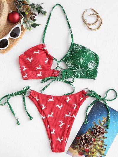ZAFUL Christmas Elk Snowflake Print Tied Bikini Swimwear - Red M