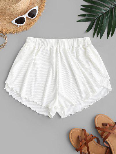 ZAFUL Lettuce Trim Ribbed Swim Shorts - White M