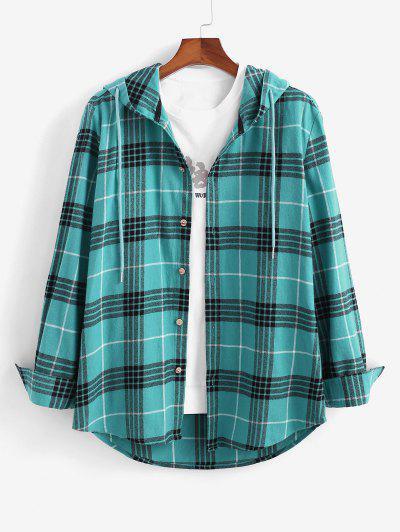 Long Sleeve Plaid Hooded Shirt - Blue 2xl