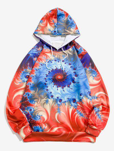 Swirl Pattern Front Pocket Hoodie - Denim Dark Blue 2xl