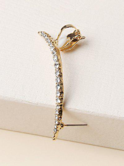 Rhinestone Single Stud Earring - Golden