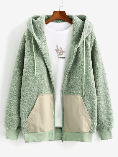 Colorblock Patched Raglan Sleeve Hooded Teddy Jacket - Light Green M