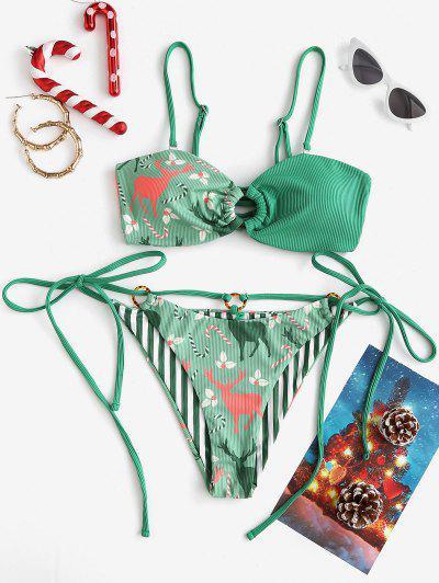 ZAFUL Christmas Berry Elk O Ring Lace Up Ribbed Bikini Swimwear - Deep Green L