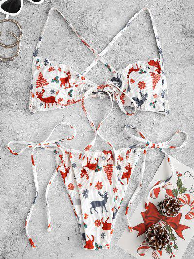 ZAFUL Christmas Tree Snowflake Elk Print Padded String Bikini Set - White S