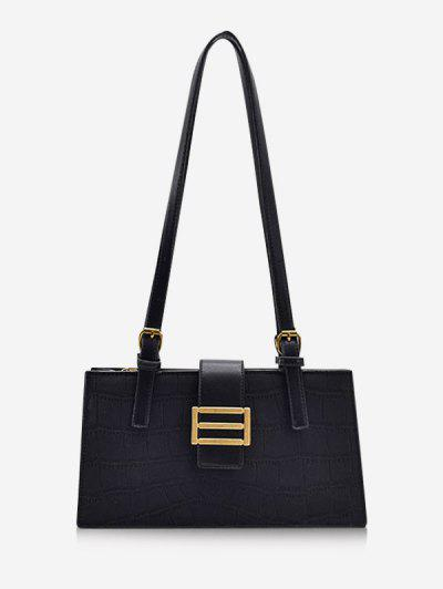 Metal Embellished Rectangle Shoulder Bag - Black