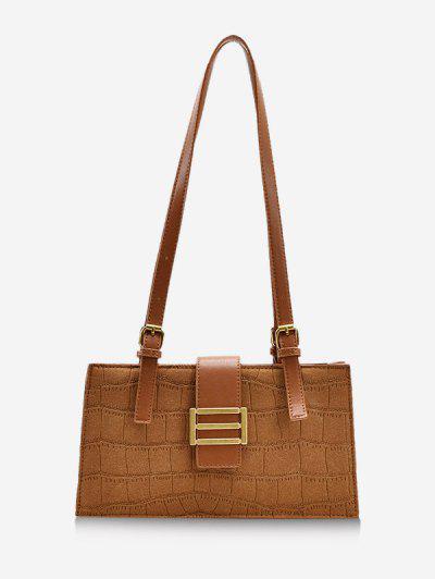 Metal Embellished Rectangle Shoulder Bag - Brown
