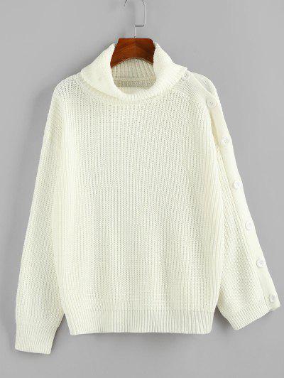 ZAFUL Drop Shoulder Turtleneck Chunky Sweater - Cool White L