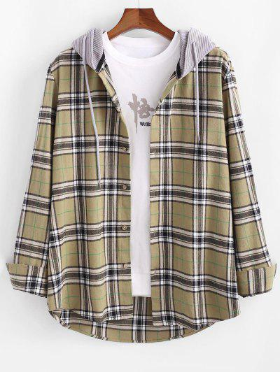 Plaid Corduroy Panel Button Up Hooded Shirt - Light Yellow 2xl