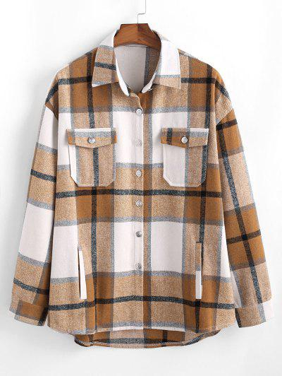 Plaid Pattern Flap Pocket Shirt Jacket - Camel Brown L