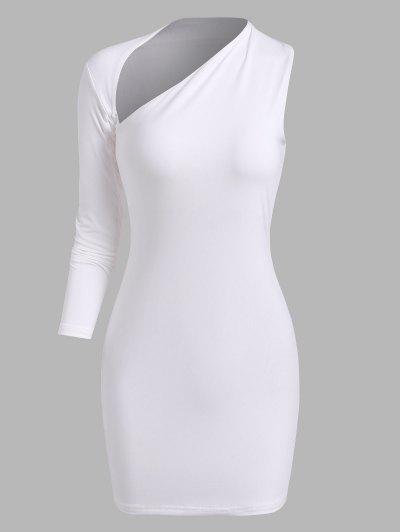 Cut Out Asymmetrical Sleeve Slinky Dress - White L