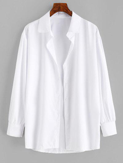 Button Up Drop Shoulder Plain Shirt - White L