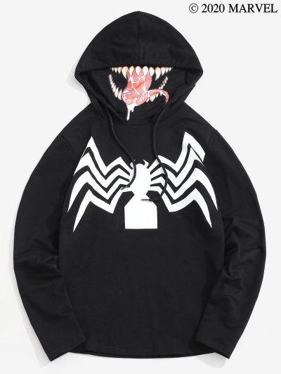 Marvel Spider-Man Venom Print Zipper Slit Mask Hoodie - Black L