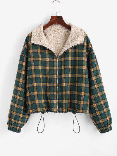 Zip Up Fleece Lined Plaid Houndstooth Jacket - Medium Sea Green L