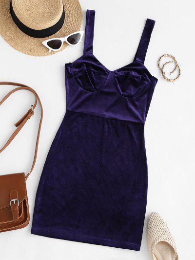 Bustier Slinky Velvet Mini Dress - Deep Blue M